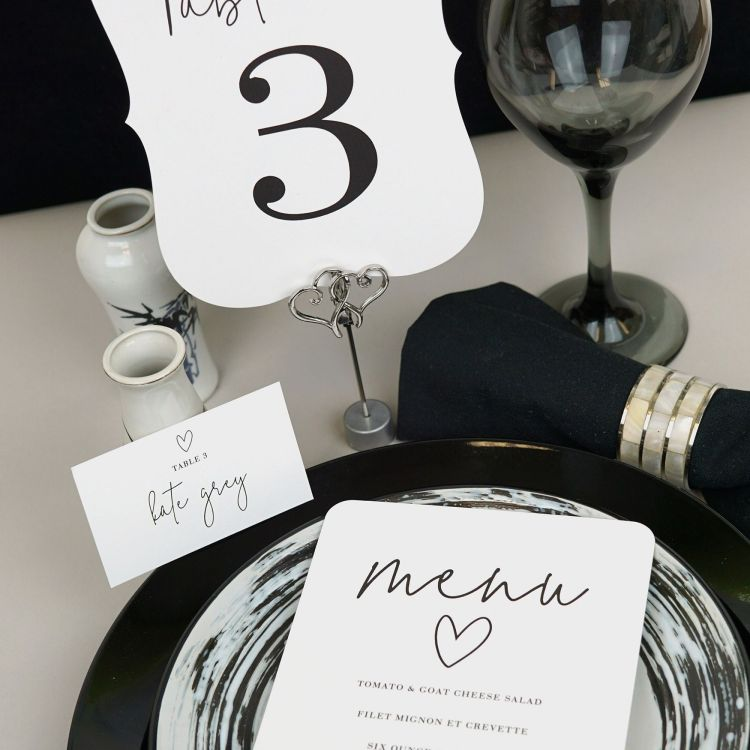 Menu, table number, seating card