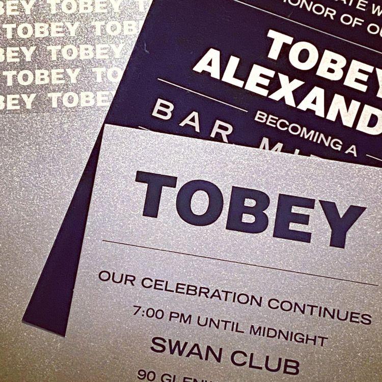 Blue plexi and silver invitation