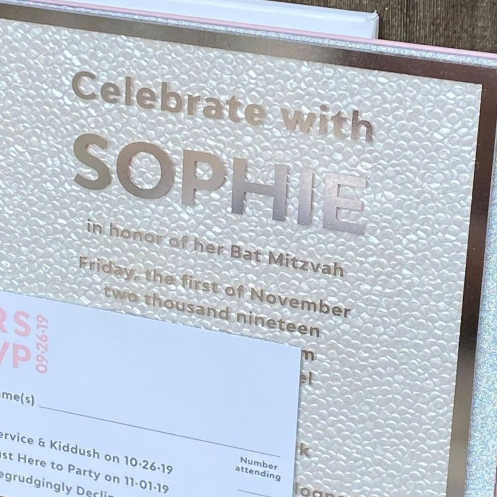 Clear acrylic, silver foil and glitter invitation