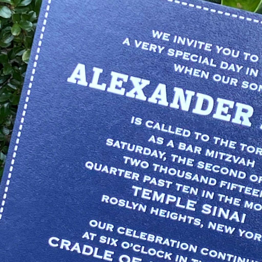 blue leather invitation